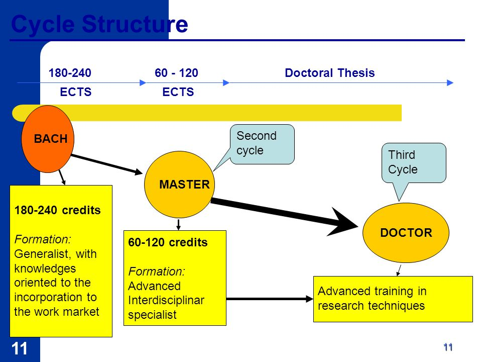 11 Cycle Structure MASTER DOCTOR Third Cycle 60-120 credits Formation: Advanced Interdisciplinar specialist Advanced training in research techniques BACH Second cycle 180-240 credits Formation: Generalist, with knowledges oriented to the incorporation to the work market 180-24060 - 120 ECTS Doctoral Thesis 11