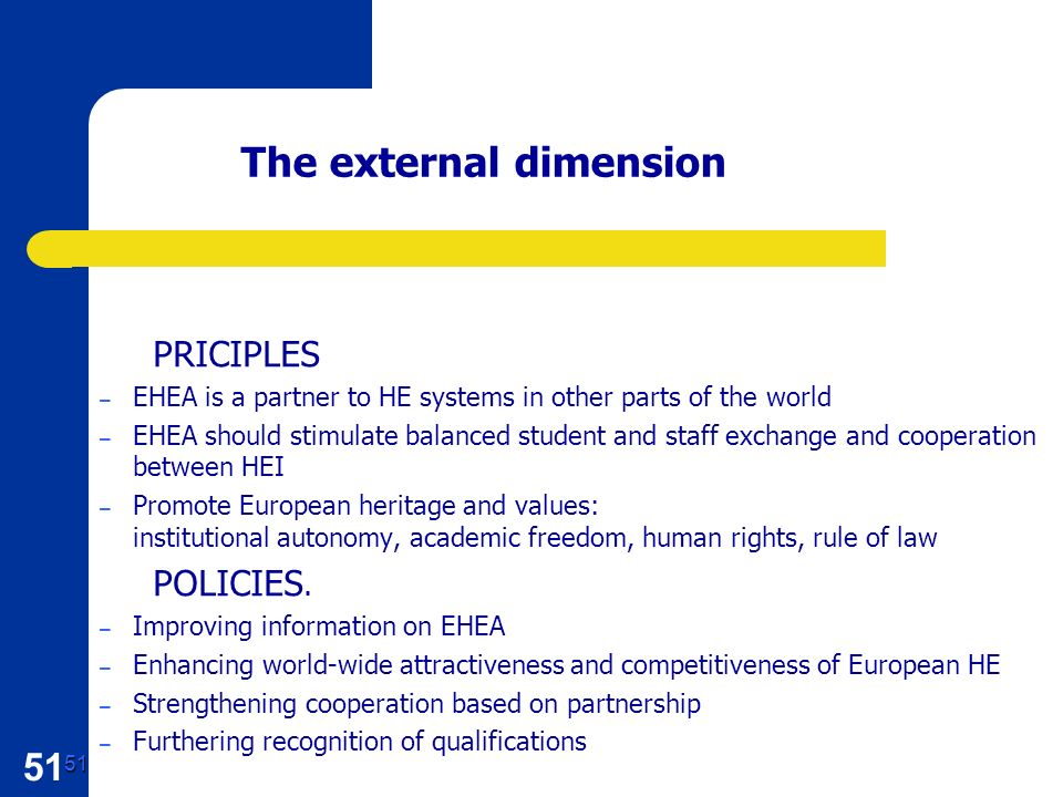 51 51 The external dimension PRICIPLES – EHEA is a partner to HE systems in other parts of the world – EHEA should stimulate balanced student and staff exchange and cooperation between HEI – Promote European heritage and values: institutional autonomy, academic freedom, human rights, rule of law POLICIES.