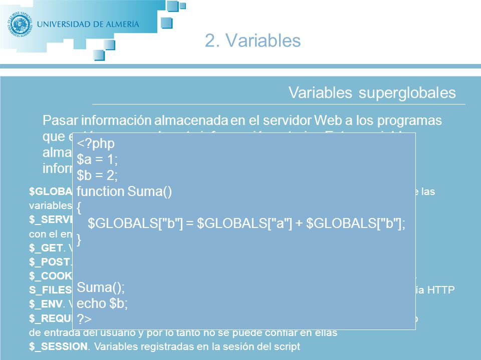 Variables superglobales 2.