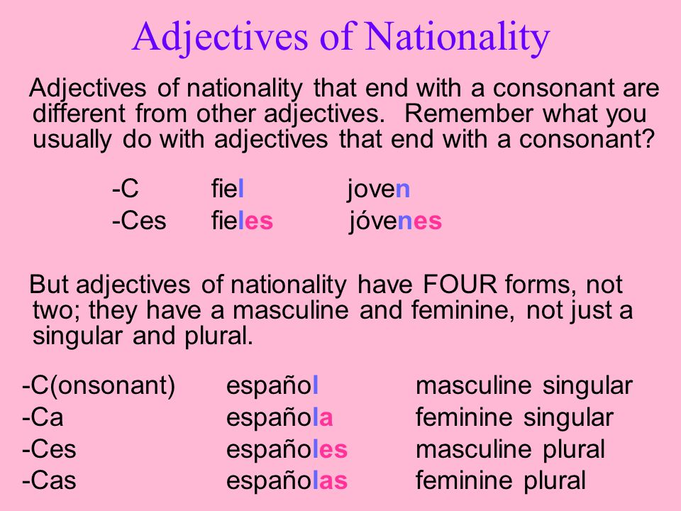 Adjectives of nationality that end with a consonant are different from other adjectives.