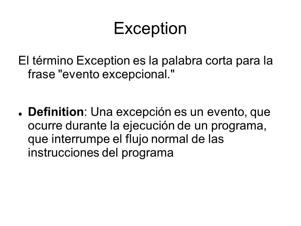 Excepciones Y Archivos Info 033 Exception El Término