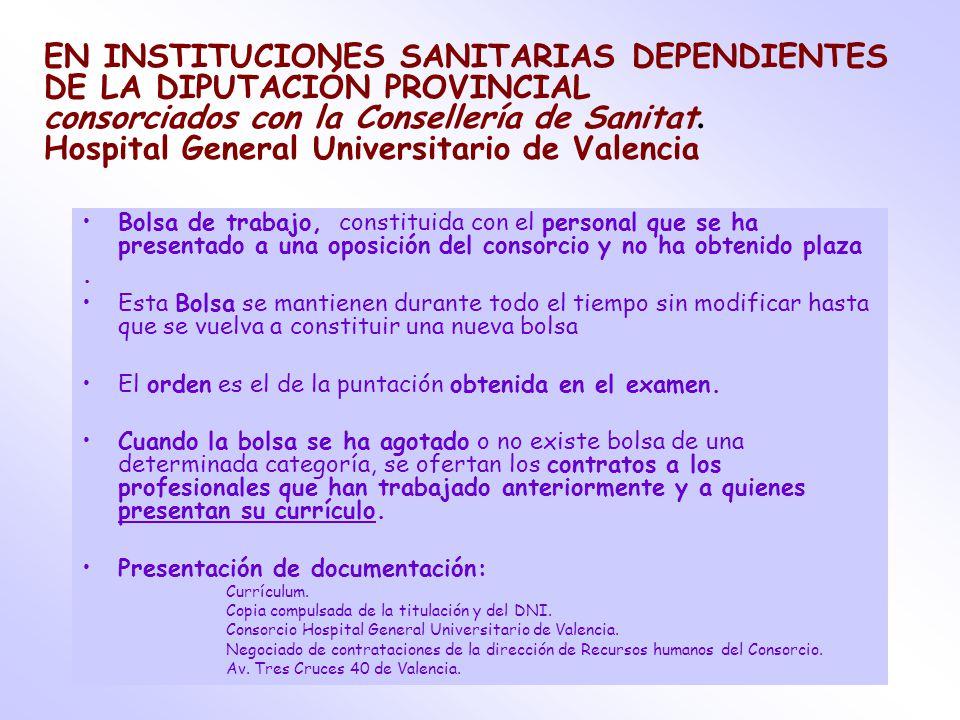 inscripcion bolsa de trabajo hospital general valencia