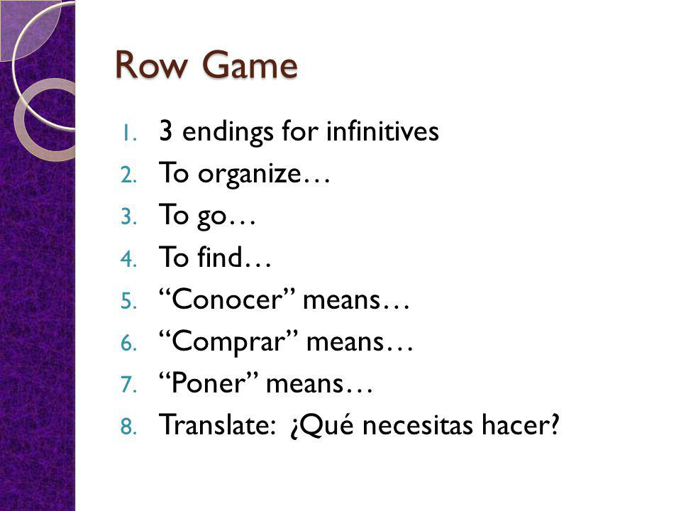 Row Game 1. 3 endings for infinitives 2. To organize… 3.