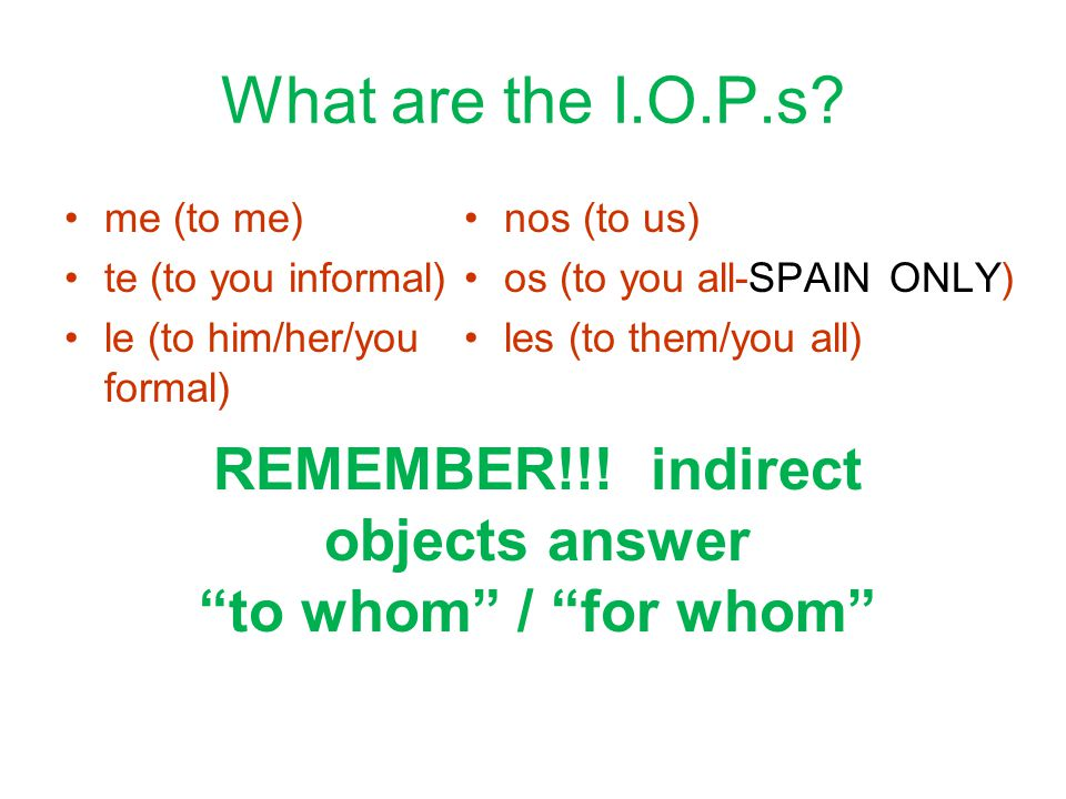 What are the I.O.P.s.
