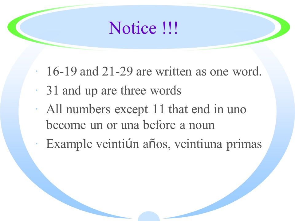 Notice !!. ·16-19 and 21-29 are written as one word.