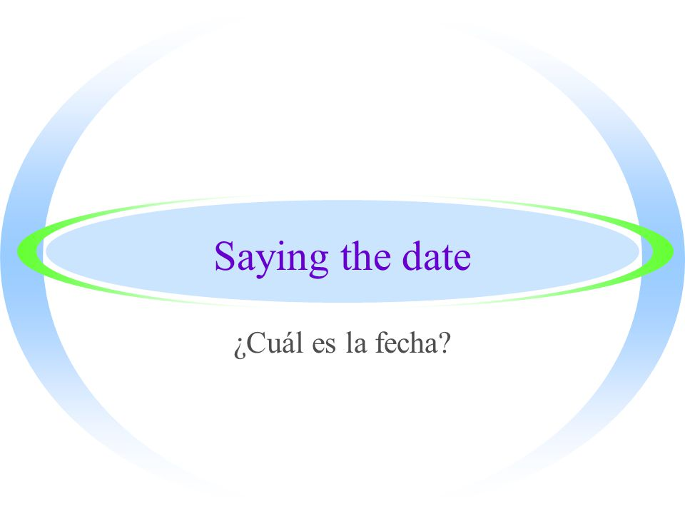 Saying the date ¿Cuál es la fecha