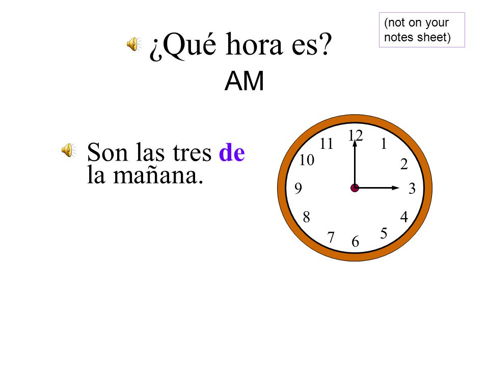 AM AM is in the morning…so we say AM is in the morning…so we say De la mañana De la mañana of the morning (AM) of the morning (AM)