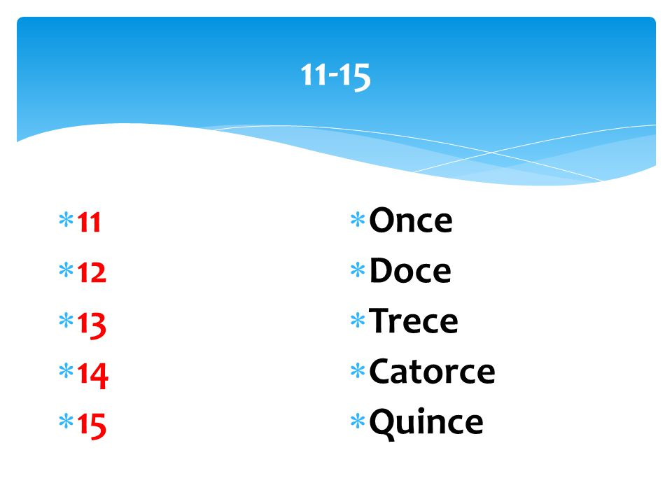 11-15  11  12  13  14  15  Once  Doce  Trece  Catorce  Quince