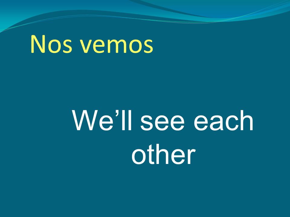 We'll see each other Nos vemos