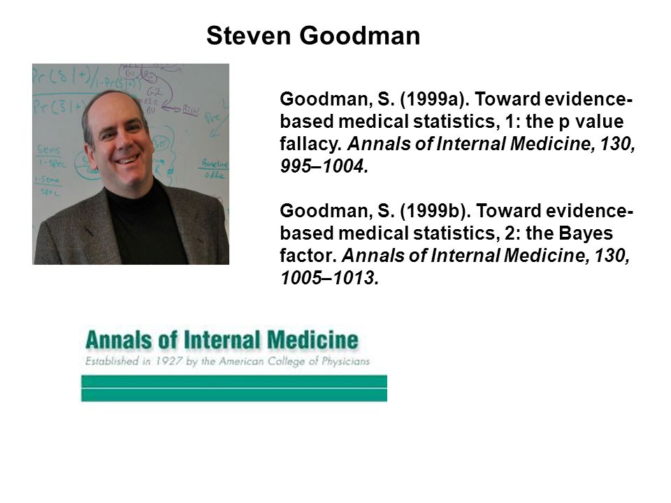 Goodman, S. (1999a). Toward evidence- based medical statistics, 1: the p value fallacy.