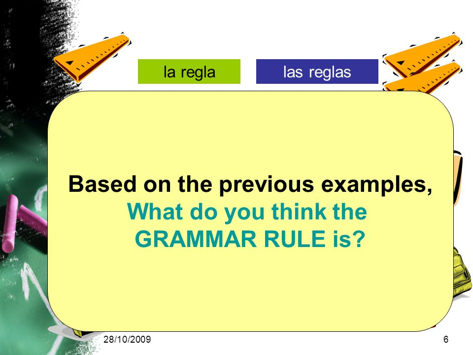 28/10/20096 la reglalas reglas la carpeta las carpetas la mochilalas mochilas Based on the previous examples, What do you think the GRAMMAR RULE is