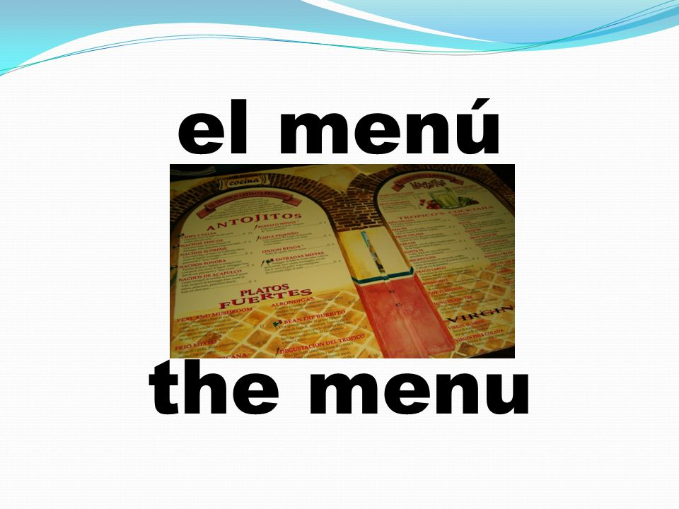 el menú the menu