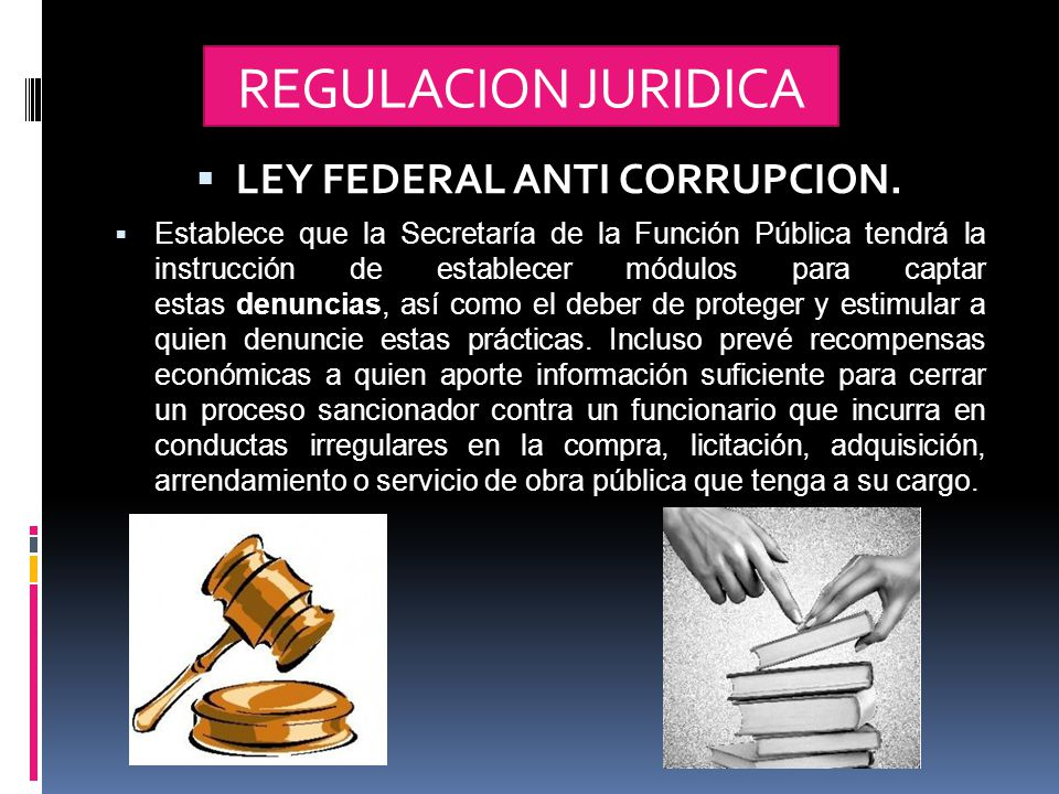 REGULACION JURIDICA  LEY FEDERAL ANTI CORRUPCION.