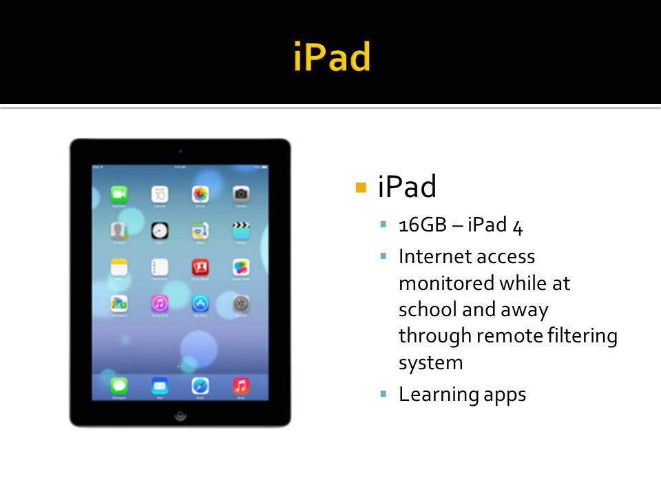  iPad  16GB – iPad 4  Internet access monitored while at school and away through remote filtering system  Learning apps