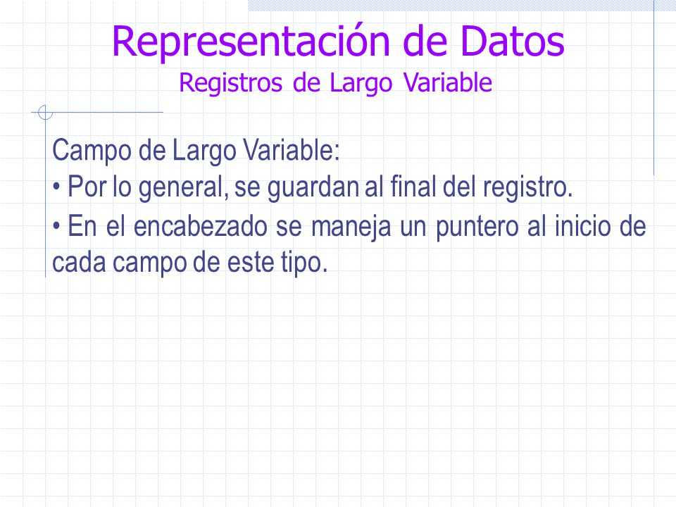 Representación de Datos Registros de Largo Variable Campo de Largo Variable: Por lo general, se guardan al final del registro.