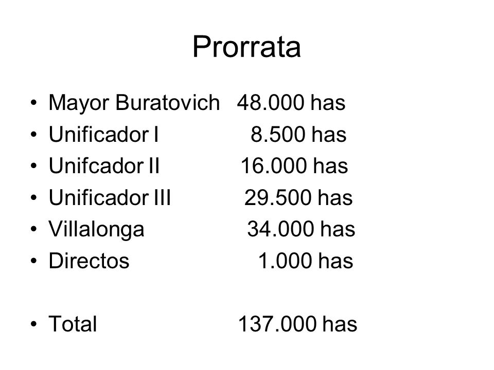 Prorrata Mayor Buratovich 48.000 has Unificador I 8.500 has Unifcador II 16.000 has Unificador III 29.500 has Villalonga 34.000 has Directos 1.000 has Total 137.000 has