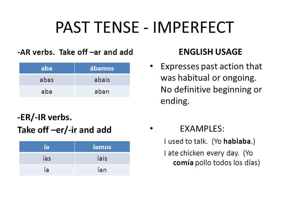 PAST TENSE - IMPERFECT -AR verbs.