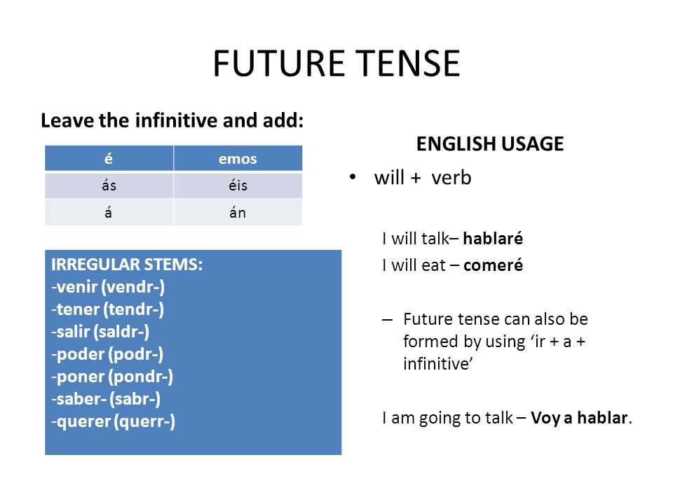 FUTURE TENSE Leave the infinitive and add: ENGLISH USAGE will + verb I will talk– hablaré I will eat – comeré – Future tense can also be formed by using 'ir + a + infinitive' I am going to talk – Voy a hablar.