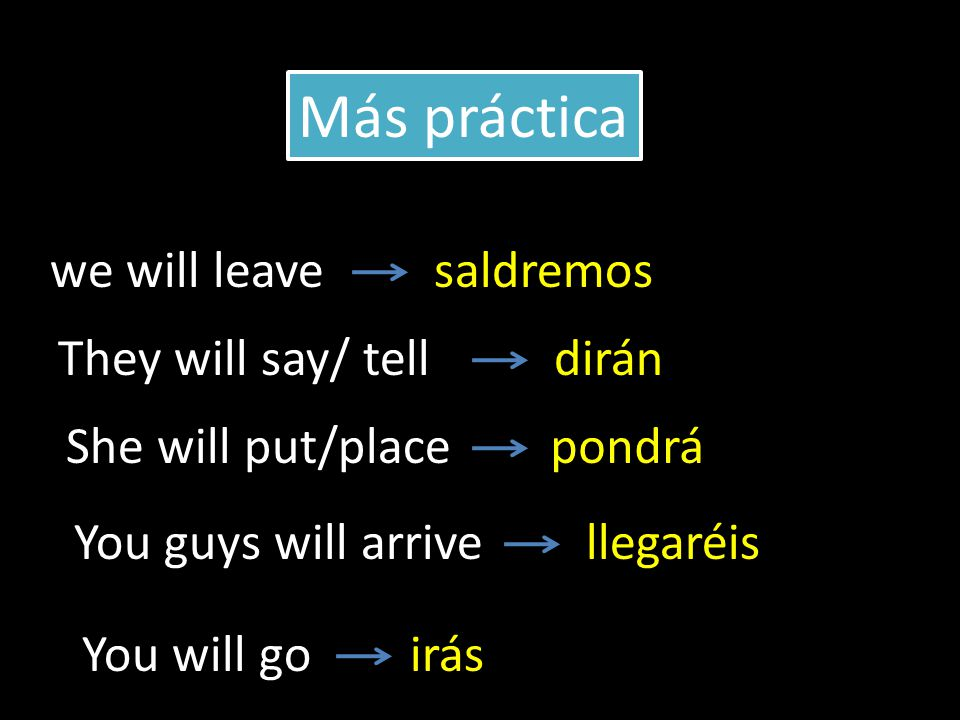 we will leave They will say/ tell She will put/place saldremos dirán pondrá Más práctica You guys will arrivellegaréis You will goirás