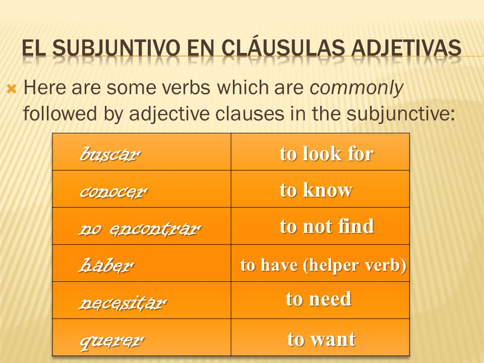  Here are some verbs which are commonly followed by adjective clauses in the subjunctive: to look for to know to not find to have (helper verb) to need to want