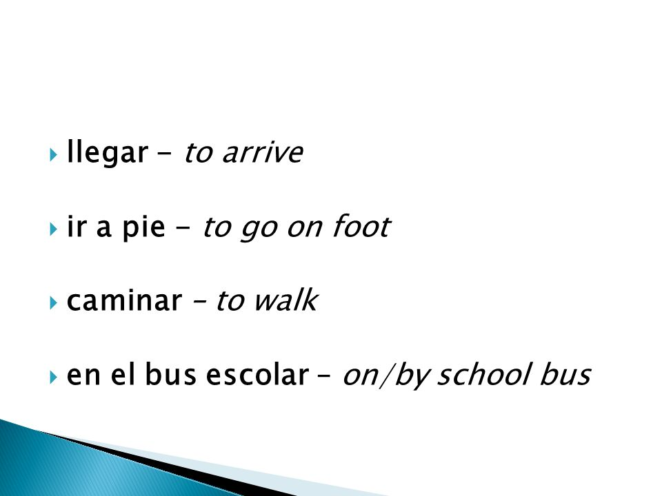  llegar - to arrive  ir a pie - to go on foot  caminar – to walk  en el bus escolar – on/by school bus