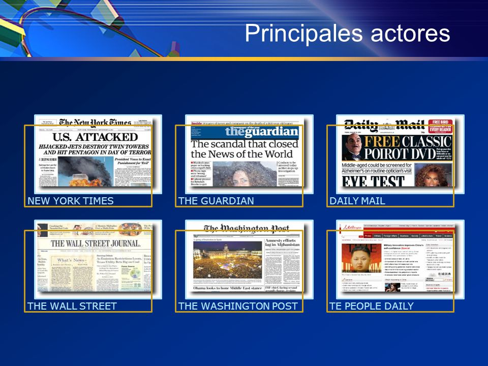 Principales actores NEW YORK TIMESTHE GUARDIANDAILY MAIL THE WALL STREETTHE WASHINGTON POSTTE PEOPLE DAILY