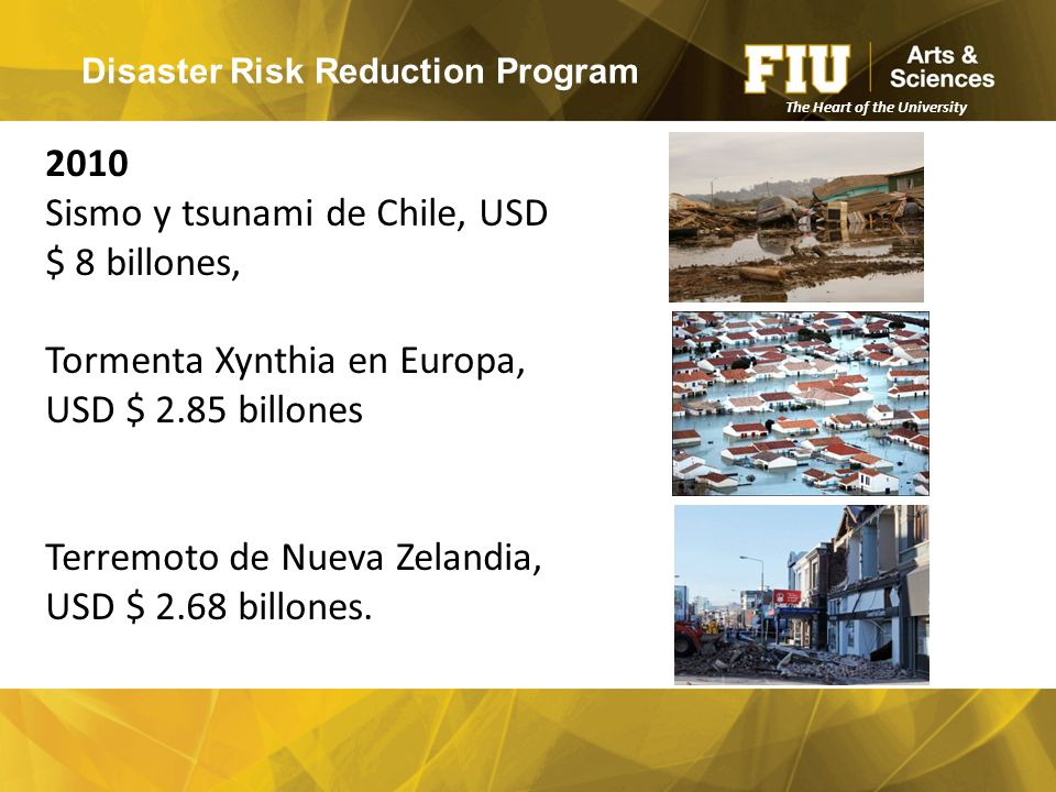 Disaster Risk Reduction Program The Heart of the University 2010 Sismo y tsunami de Chile, USD $ 8 billones, Tormenta Xynthia en Europa, USD $ 2.85 billones Terremoto de Nueva Zelandia, USD $ 2.68 billones.