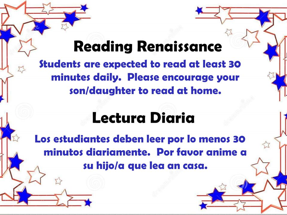 Students are expected to read at least 30 minutes daily.