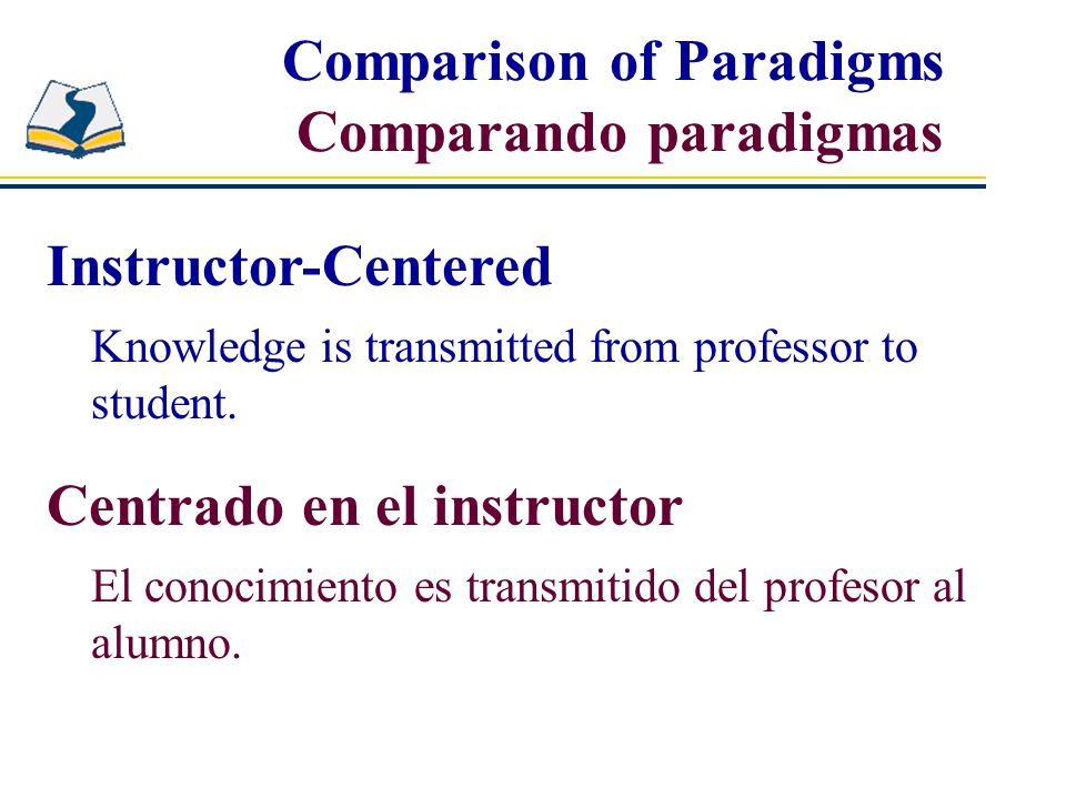Comparison of Paradigms Comparando paradigmas Instructor-Centered Knowledge is transmitted from professor to student.