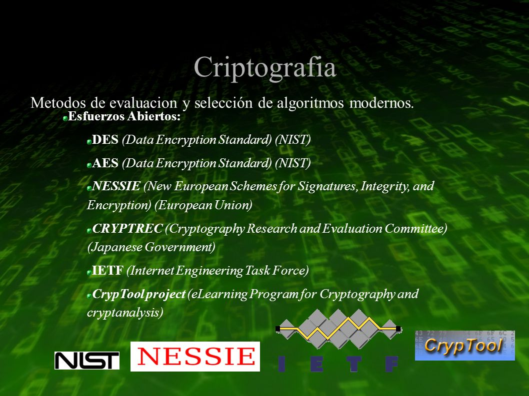 Criptografia Esfuerzos Abiertos: DES (Data Encryption Standard) (NIST) AES (Data Encryption Standard) (NIST) NESSIE (New European Schemes for Signatures, Integrity, and Encryption) (European Union) CRYPTREC (Cryptography Research and Evaluation Committee) (Japanese Government) IETF (Internet Engineering Task Force) CrypTool project (eLearning Program for Cryptography and cryptanalysis) Metodos de evaluacion y selección de algoritmos modernos.