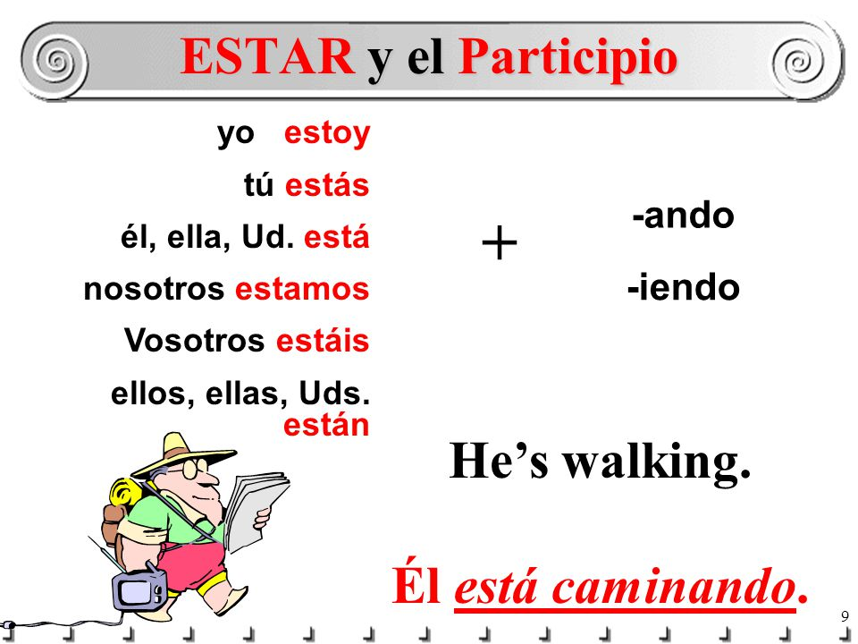 8 In English you would never say: He walking. or She working. You say: He's walking.