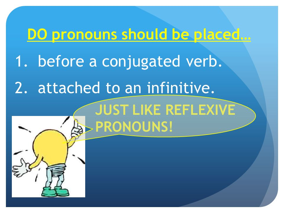 DO pronouns should be placed… 1.before a conjugated verb.