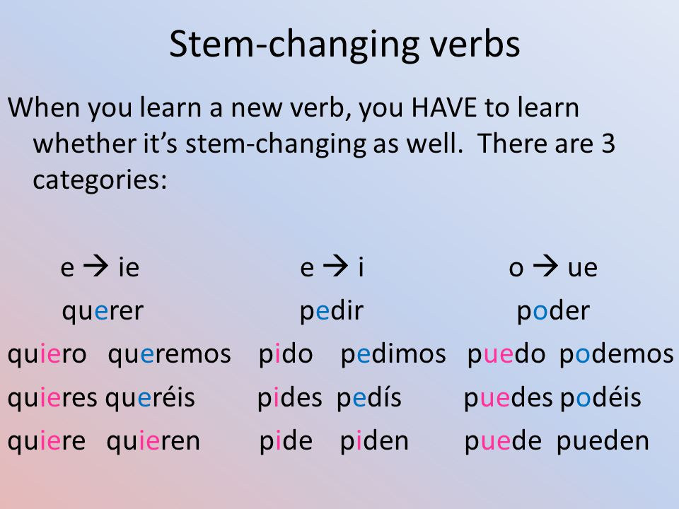 Stem-changing verbs When you learn a new verb, you HAVE to learn whether it's stem-changing as well.