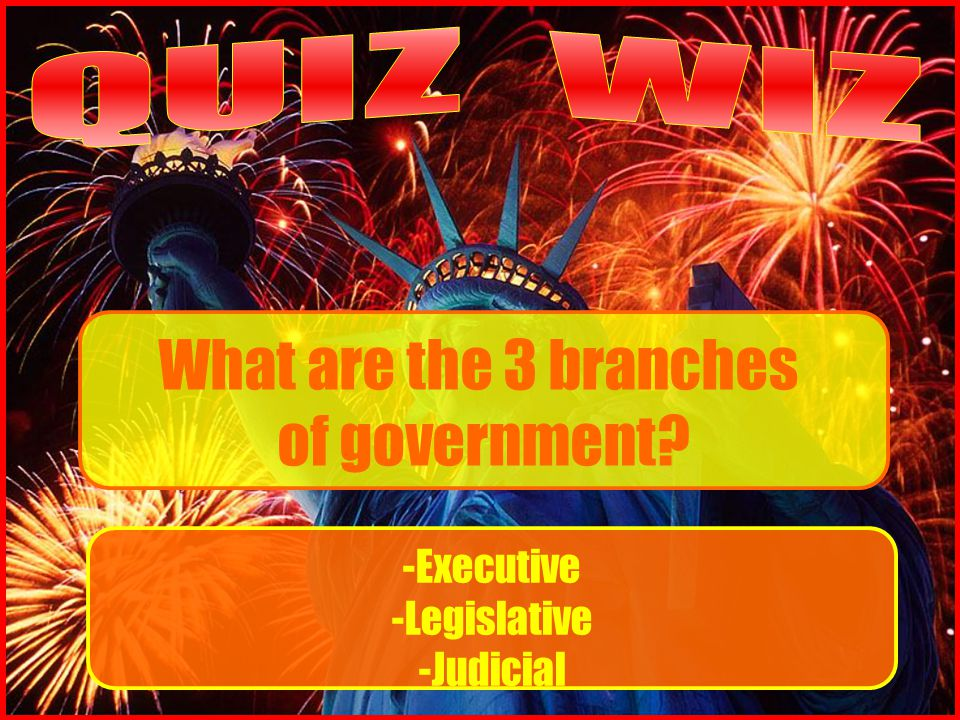 What are the 3 branches of government -Executive -Legislative -Judicial