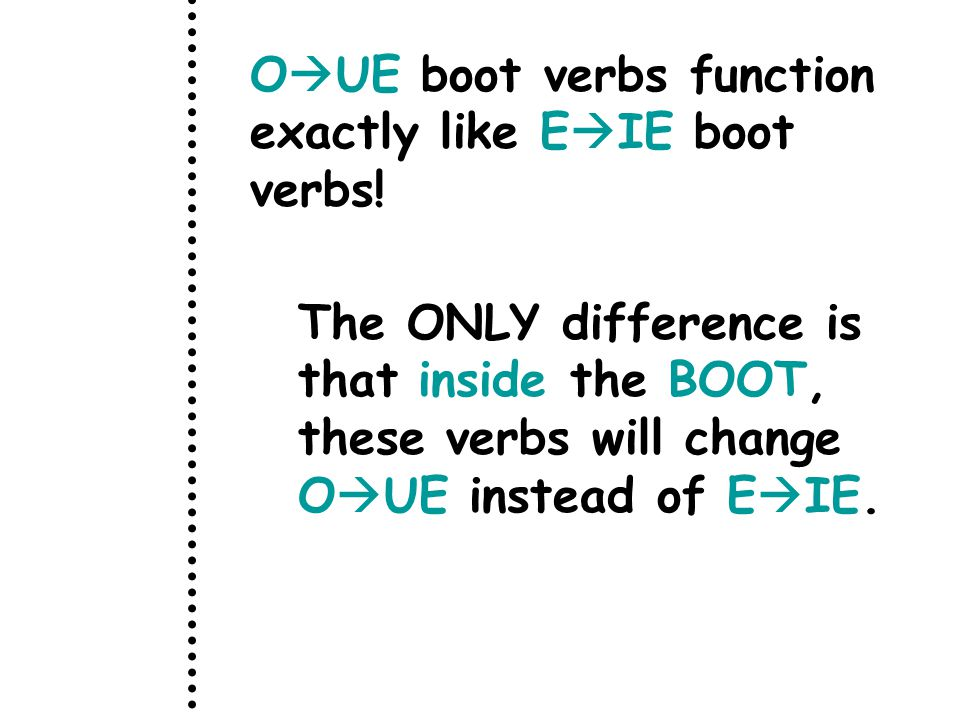 O  UE boot verbs function exactly like E  IE boot verbs.