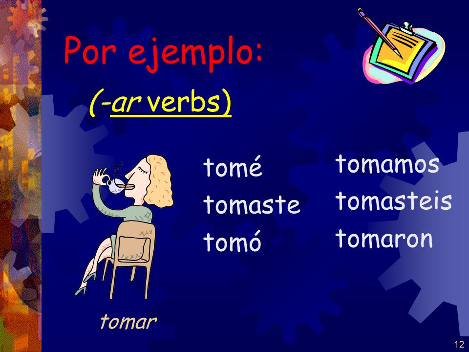 11 REMEMBER There are accents on the yo form and the él / ella / Ud. form -ar / -ir nosotros form is the same in present and pretérito