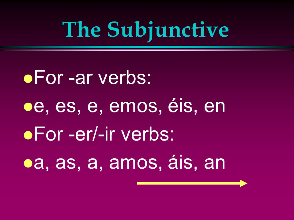 The Subjunctive l Drop the -o of the present- tense indicative yo form and add the subjunctive endings.