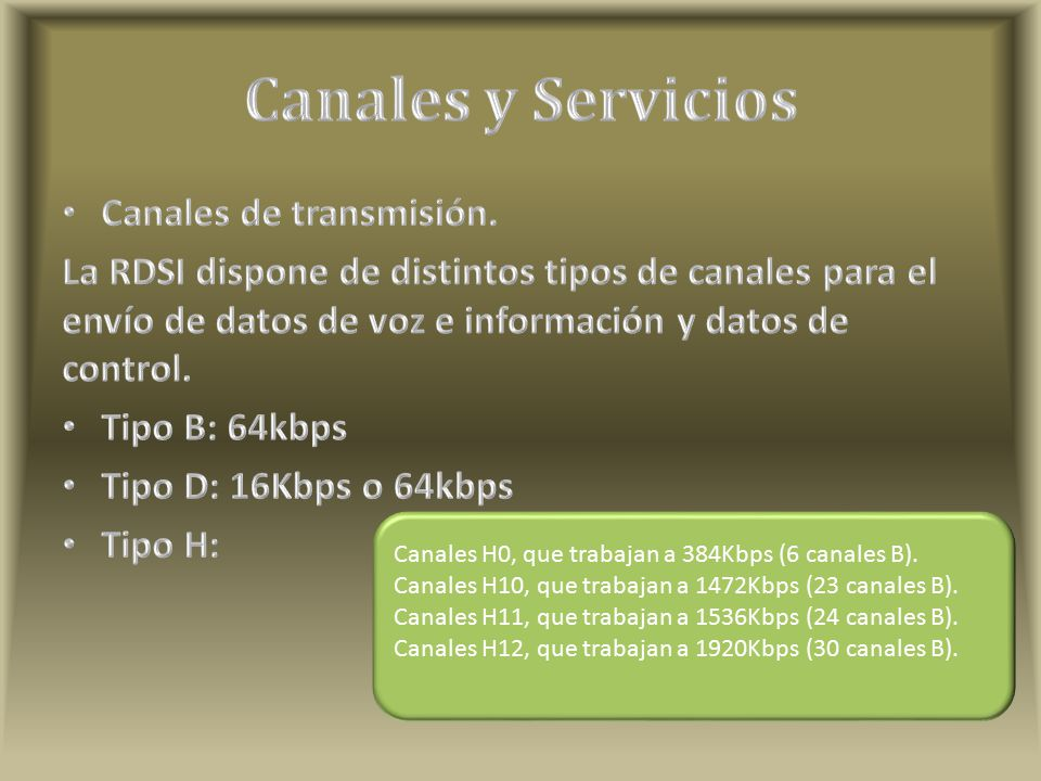 Canales H0, que trabajan a 384Kbps (6 canales B).