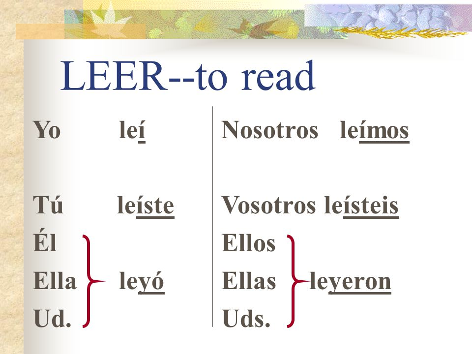 Stem-changing in -ER/-IR ER & IR verbs whose stems end in a vowel need a strong Y to replace the I in 3rd person forms.