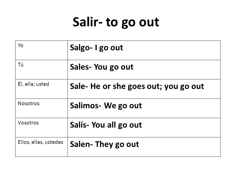 Salir- to go out Yo Salgo- I go out Tú Sales- You go out Él, ella; usted Sale- He or she goes out; you go out Nosotros Salimos- We go out Vosotros Salís- You all go out Ellos, ellas, ustedes Salen- They go out