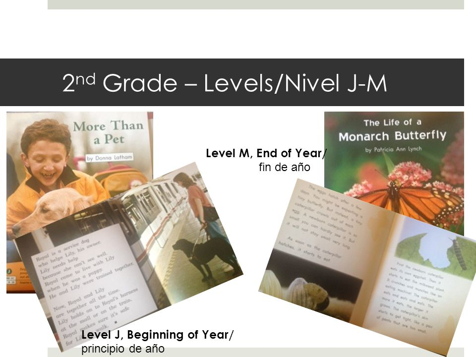 2 nd Grade – Levels/Nivel J-M Level J, Beginning of Year/ principio de año Level M, End of Year/ fin de año