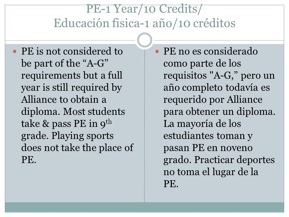 PE-1 Year/10 Credits/ Educación fisica-1 año/10 créditos PE is not considered to be part of the A-G requirements but a full year is still required by Alliance to obtain a diploma.