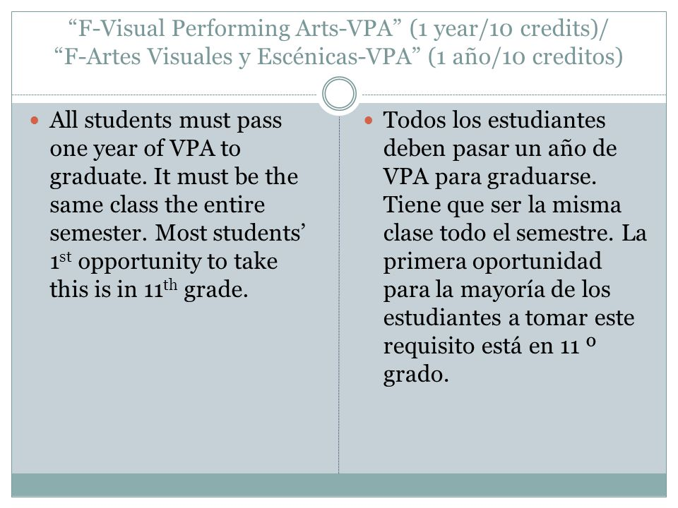 F-Visual Performing Arts-VPA (1 year/10 credits)/ F-Artes Visuales y Escénicas-VPA (1 año/10 creditos) All students must pass one year of VPA to graduate.
