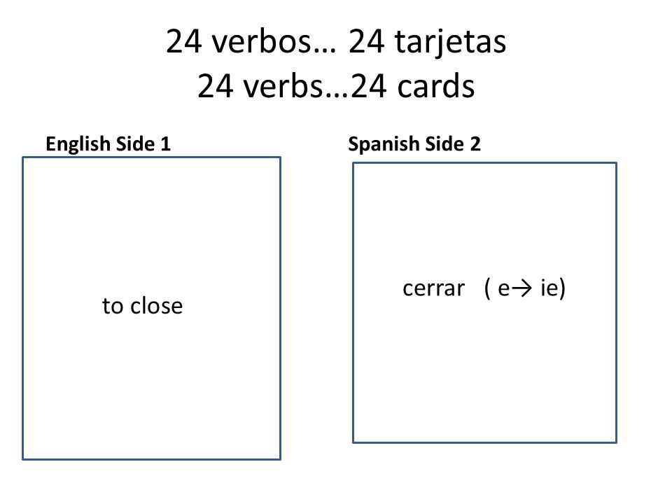 24 verbos… 24 tarjetas 24 verbs…24 cards English Side 1 to want Spanish Side 2 to to close cerrar ( e→ ie)
