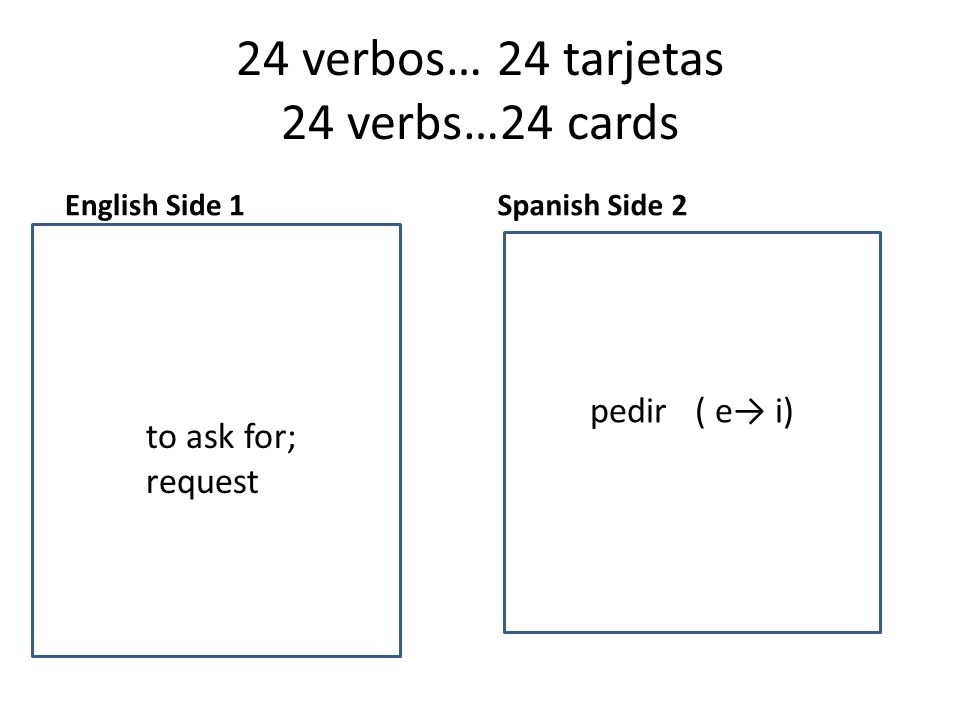 24 verbos… 24 tarjetas 24 verbs…24 cards English Side 1 to want Spanish Side 2 to to ask for; request pedir ( e→ i)
