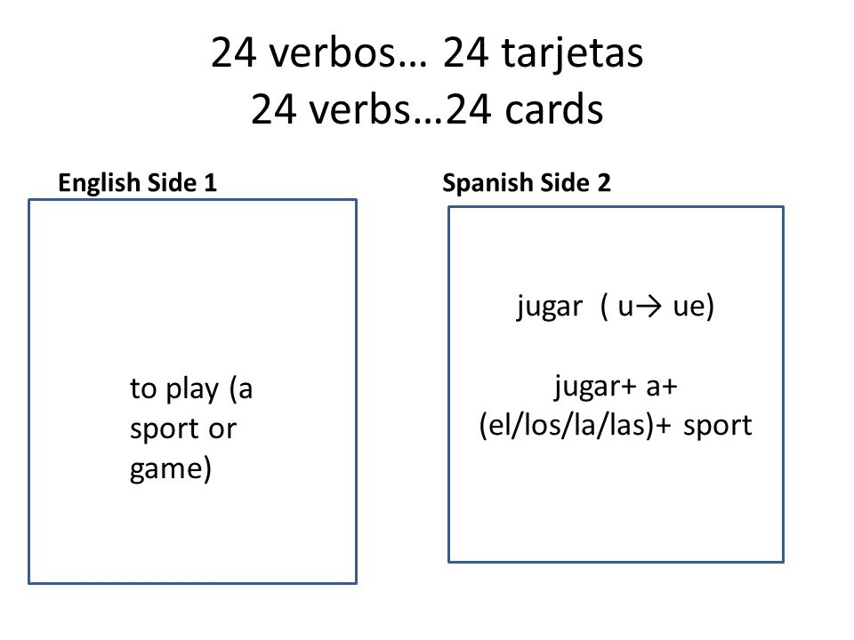 24 verbos… 24 tarjetas 24 verbs…24 cards English Side 1 to want Spanish Side 2 to to play (a sport or game) jugar ( u→ ue) jugar+ a+ (el/los/la/las)+ sport