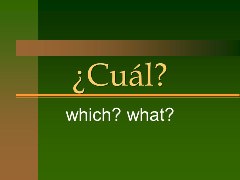 ¿Cuál which what