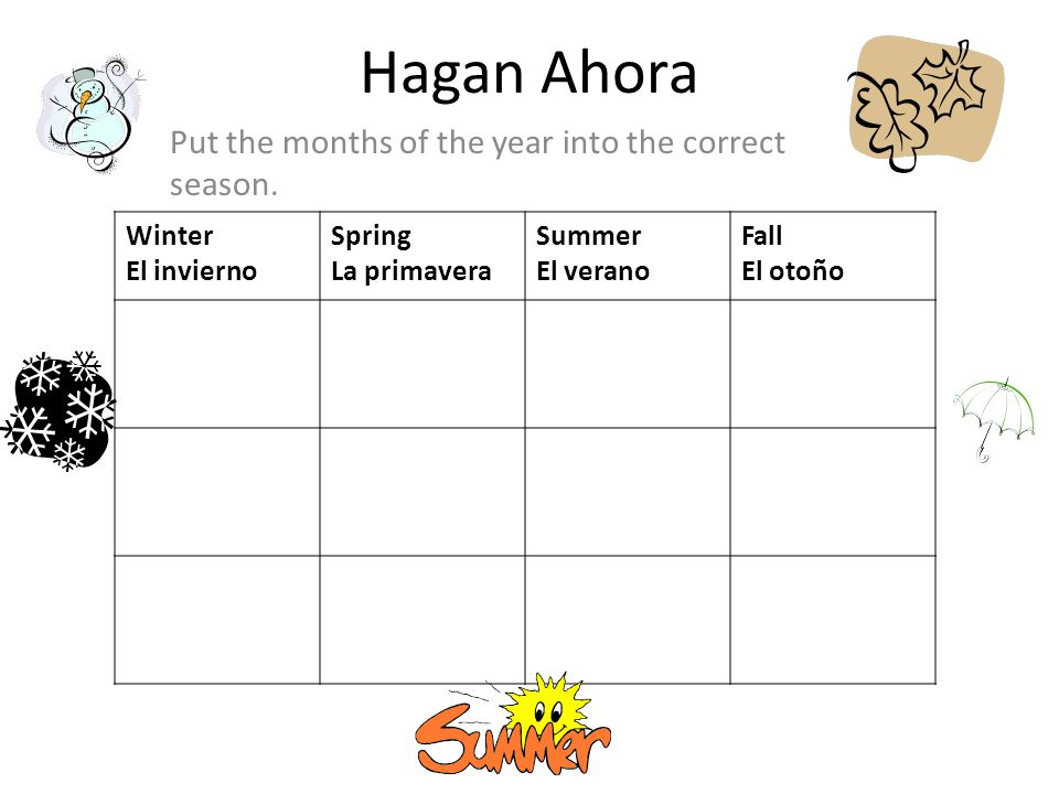 Hagan Ahora Put the months of the year into the correct season.