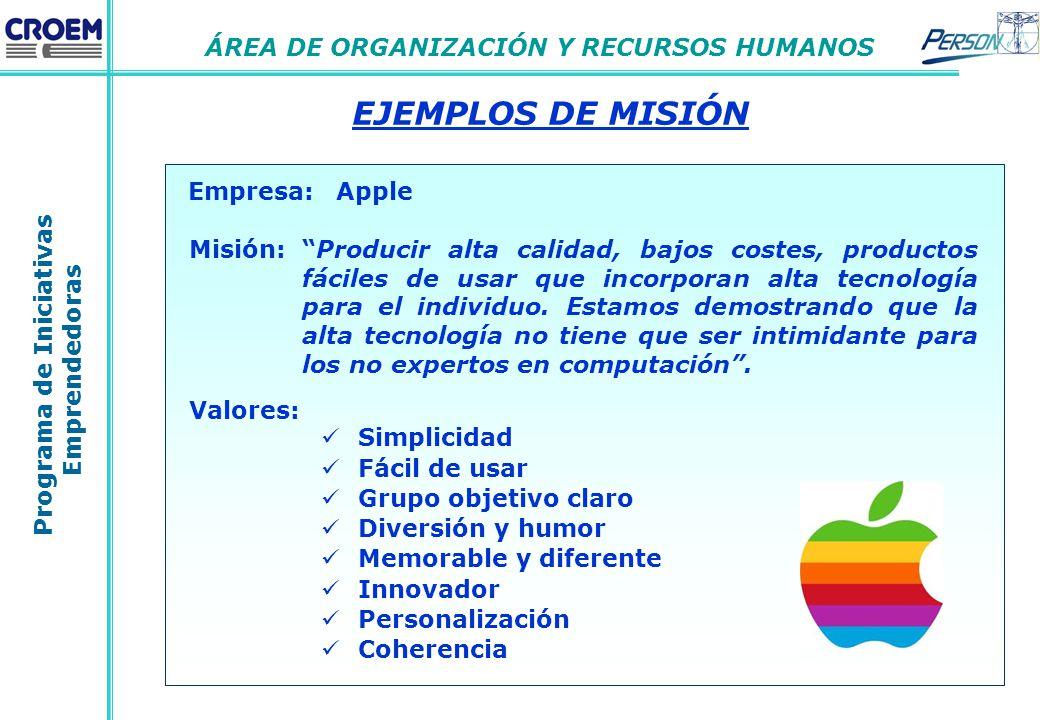 Programa de Iniciativas Emprendedoras ÁREA DE ORGANIZACIÓN Y RECURSOS  HUMANOS EJEMPLOS DE MISIÓN Empresa  Apple 3ecf5473bbb3f