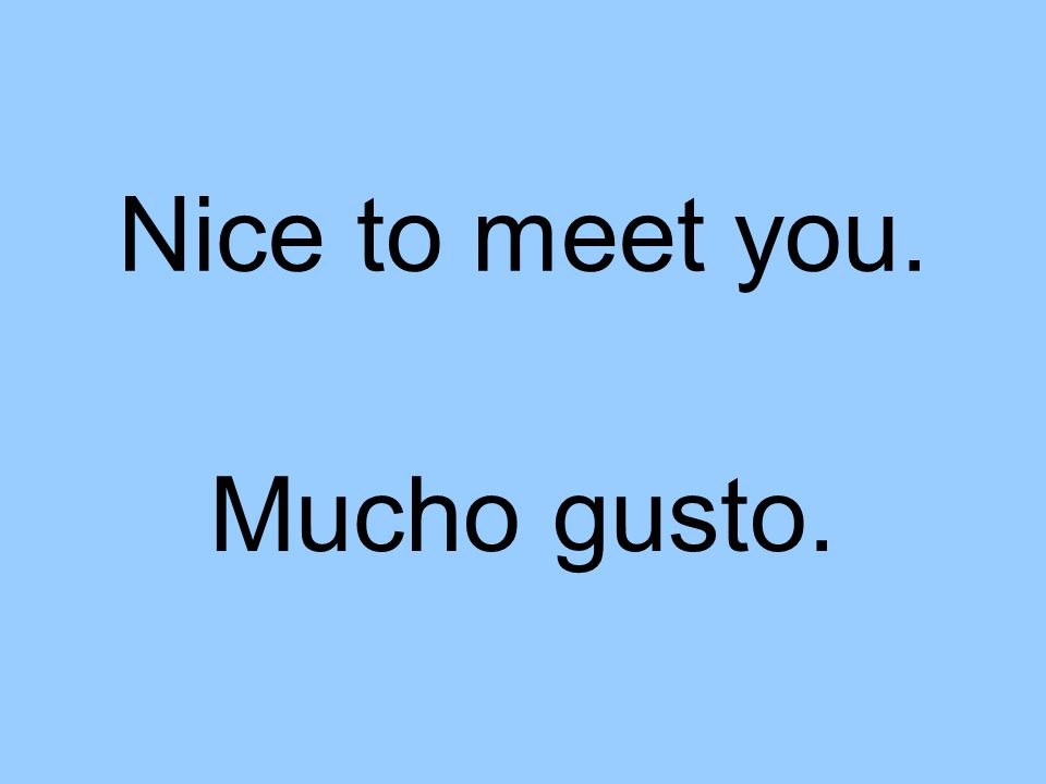 Nice to meet you. Mucho gusto.